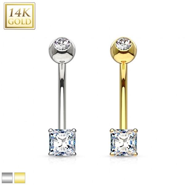 14 karatowe złoto kolczyk do pępka kwadrat piercing