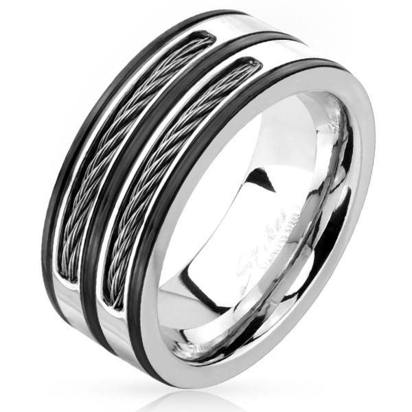 Czarny srebrny pierścionek ze stali szlachetnej