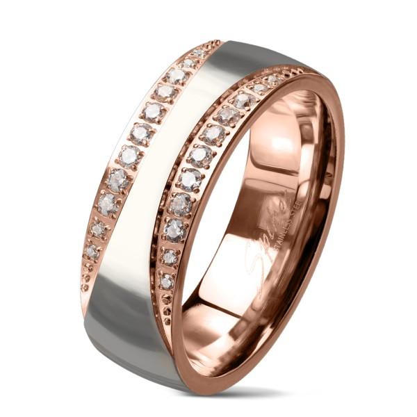Różowe złoto cyrkonia srebrny pierścionek ze stali szlachetnej