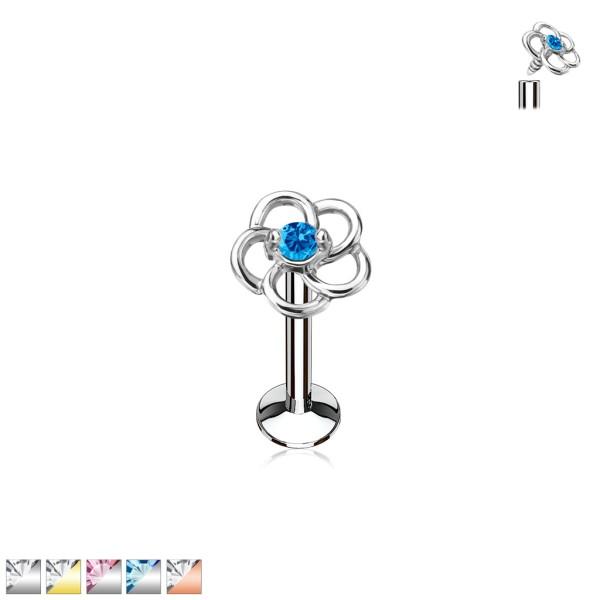 Kwiatek z opalem labret monroe helix sztanga kolczyk do piercingu ucha gwint wewnętrzny flat back