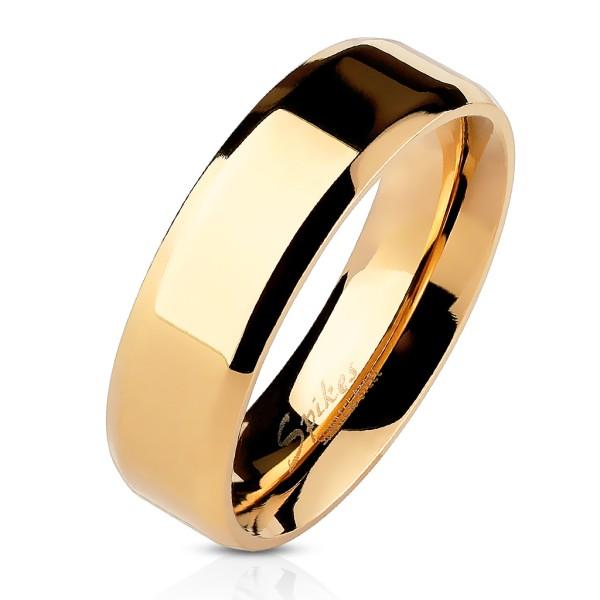 Ścięty rant płaski pozłacany różowym złotem pierścionek ze stali szlachetnej