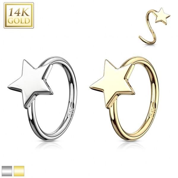 Gwiazdka kolczyk do nosa nostril kółko hoop złoto 14 karatowe 585