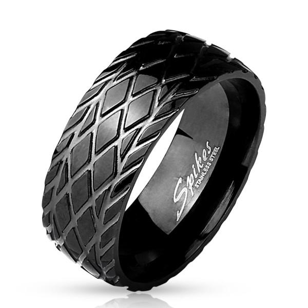 Czarna powłoka pierścionek ze stali szlachetnej