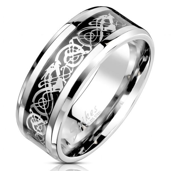 Smok celtycki pierścionek ze stali szlachetnej