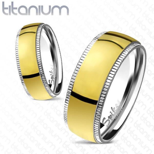 Tytanowe złote obrączki pierścionek