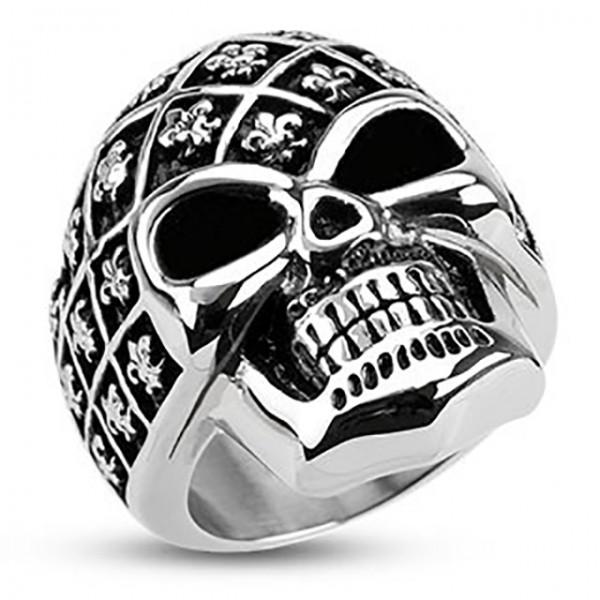 lilia de lis irys wzór z dekoracją czaszka szerokość splot pierścionek ze stali szlachetnej