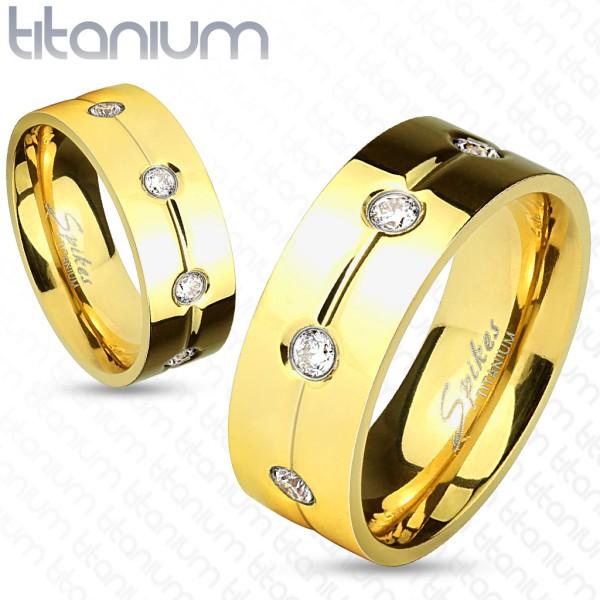 Pokryty złotem przezroczyta cyrkonia tytan pierścionek