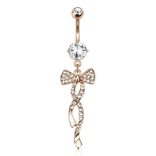 Wstążka kolczyk do pępka pozłacana różowe złoto piercing