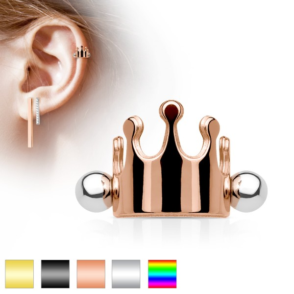 Korona stal chirurgiczna 316L ucho cartilage/helix cuff sztanga barbell