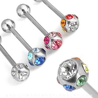 Mixed 316L Surgical Steel Barbells with 7-gem set Top Balls 100pcs BulkPack (25pcs x 4 colors)