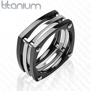 Śruba cyrkonia czarny pierścionek tytan