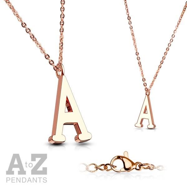 Łańcuszek z inicjałami litery alfabet różowe złoto prezent dla mamy lub par