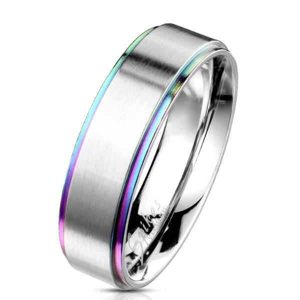Szczotkowany pierścionek tęcza na brzegach