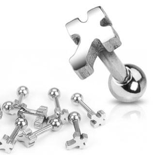 Krzyż kolczyk tragus helix do chrząstki ucha piercing