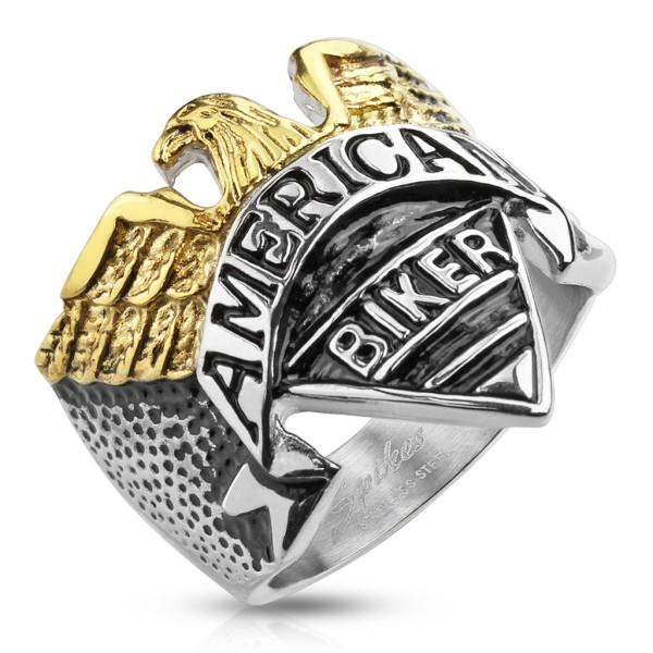 orzeł z 'American Biker' stal szlachetna pierścionek pleciony