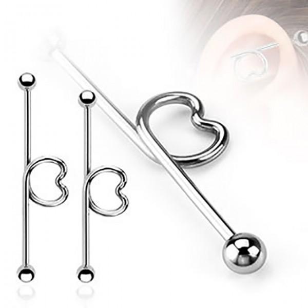 Serce kolczyk do chrząstki ucha Industrial Surface Bar barbell piercing