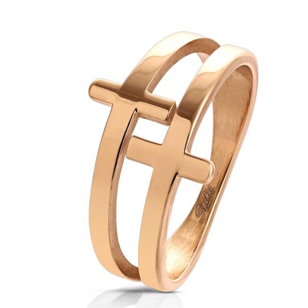 krzyż różowe złoto pierścionek ze stali szlachetnej