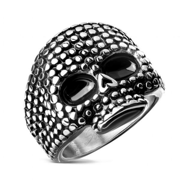 Czaszka czarne oczy sygnet pierścień