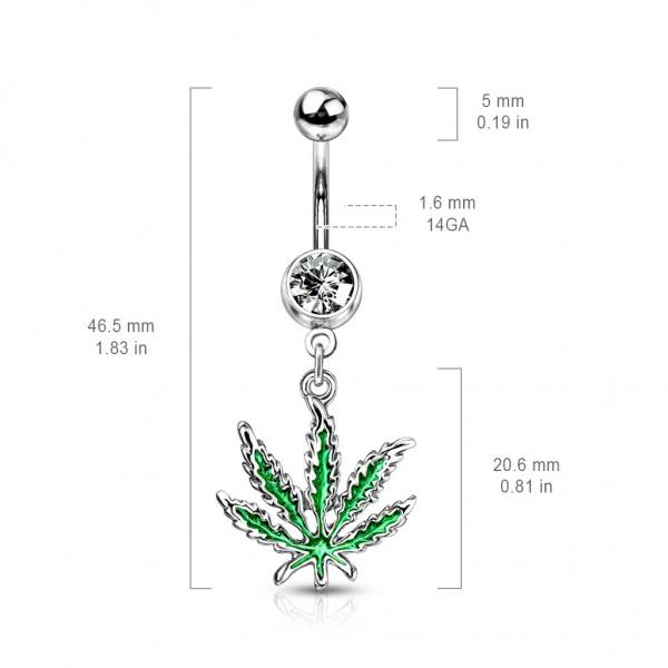 Liść marihuana kolczyk do pępka stal chirurgiczna piercing