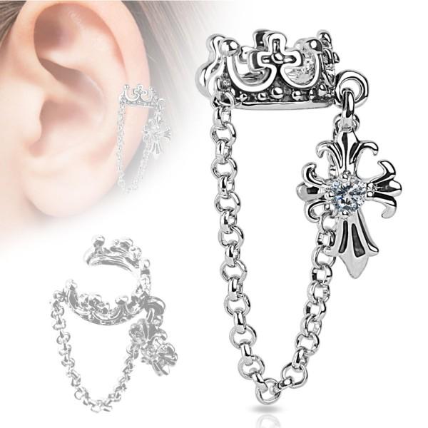 Korona łańcuszek nausznica kolczyk do ucha i chrząstki ucha piercing Ear cuff