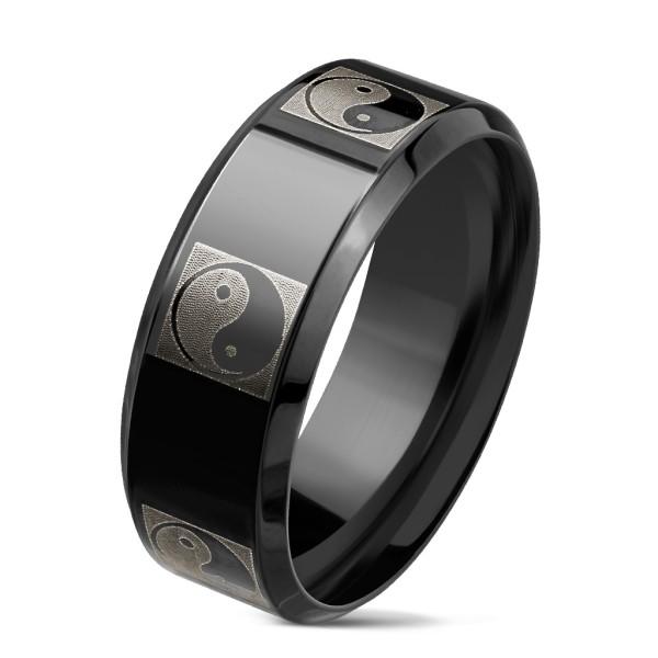 Ying Yang pierścionek czarny IPze stali szlachetnej
