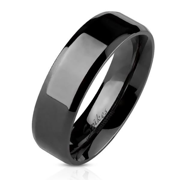 Ścięty rant płaski pierścionek czarny ze stali szlachetnej