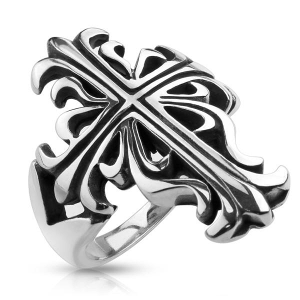 Krzyż celtycki pleciony pierścionek ze stali szlachetnej