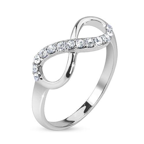 Nieskończoność z cyrkoniami srebrny pierścionek na palec u dłoni lub stopy rozmiar dający się regulować prezent