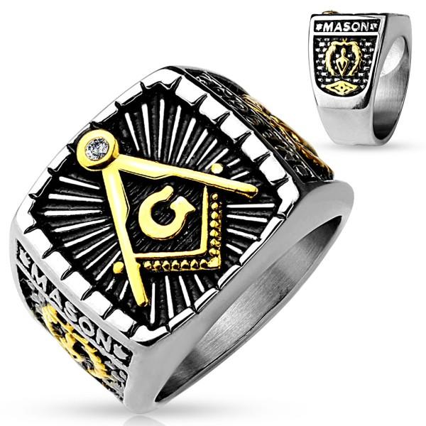 Oko masońskie stal szlachetna sygnet Casting Ring pierścień dla panów
