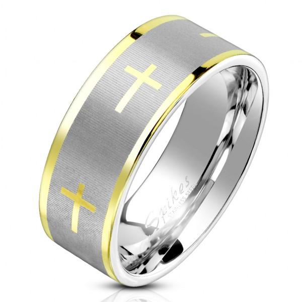 Złote krzyże obrączka męska stal szlachetna