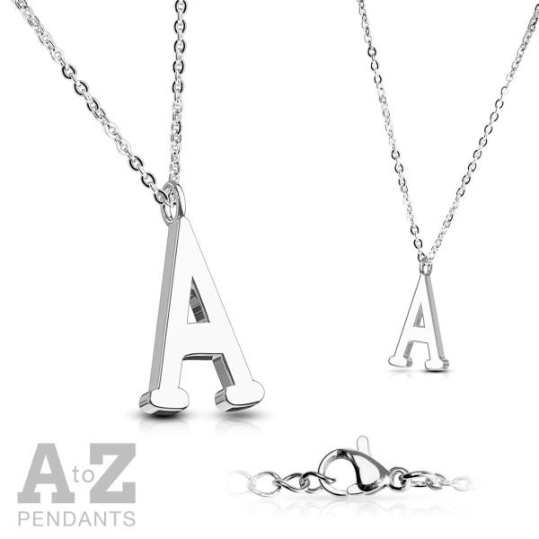 Łańcuszek z inicjałami litery alfabet zawieszka stal 316L prezent dla mamy lub par