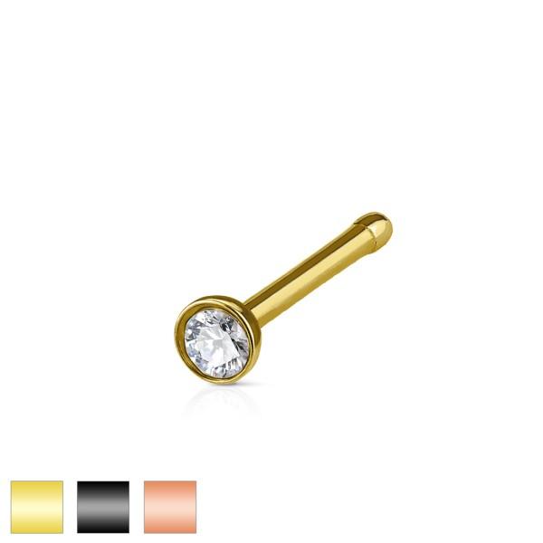 Kryształek złoty srebrny kolczyk do nosa stal chirurgiczna