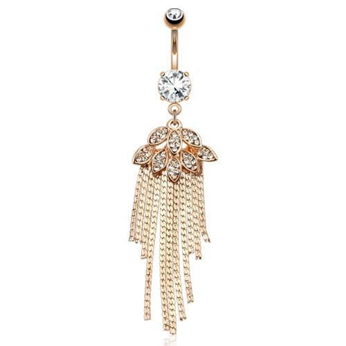 Liście i łańcuszki kolczyk do pępka różowe złoto piercing