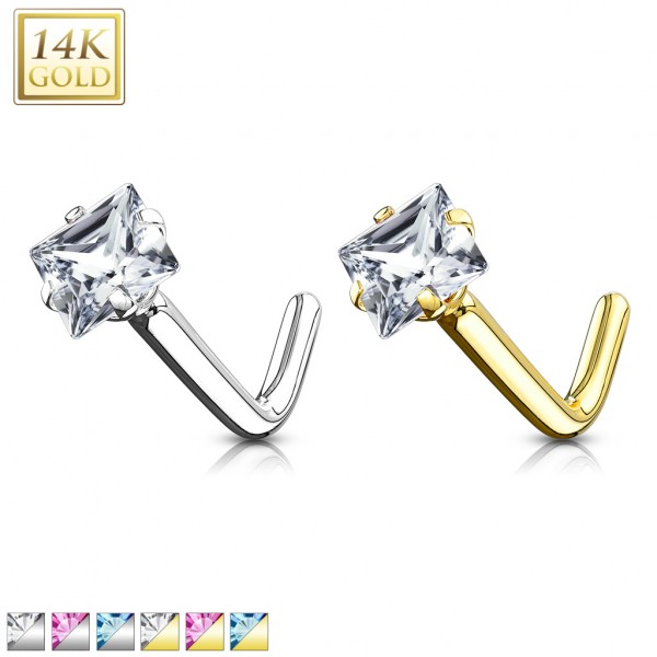 Kwadrat cyrkonia kolczyk do nosa nostril piercing złoto 14 karatowe 585