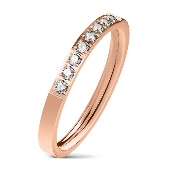 8 cyrkonii w jednej lini pozłacany różowym złotem pierścionek zaręczynowy stal szlachetna