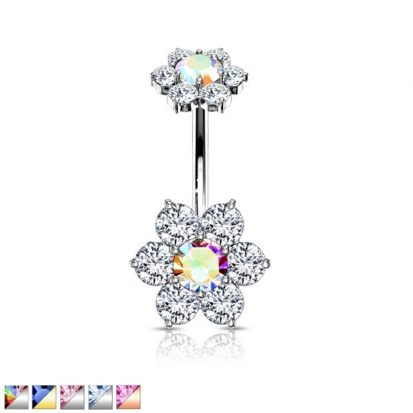 Kwiatek z Kryształkami kolczyk do piercingu pępka