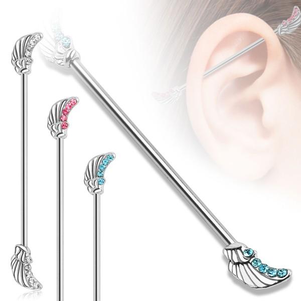 Skrzydło anioła kolczyk do chrząstki ucha Industrial Surface Bar barbell piercing