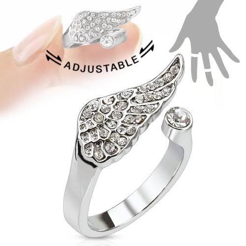 Skrzydło anioła cyrkonie pierścionek na palec rozmiar dający się regulować