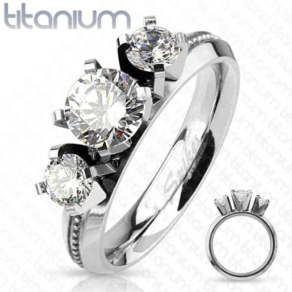 Trzy okrągłe białe cyrkonie tytan pierścionek