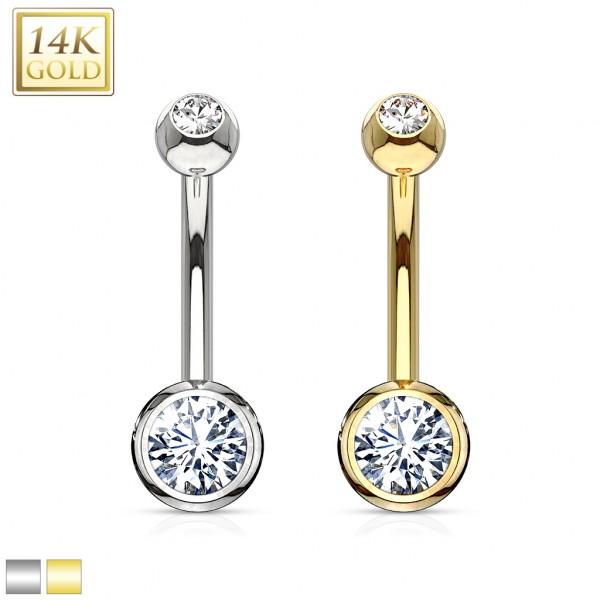 Cyrkonia kulka kolczyk do pępka złoty piercing 14 karatowe prawdziwe złoto 585