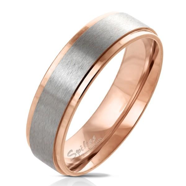 pozłacany różowym złotem rant z szczotkowany Steel centrum pierścionek ze stali szlachetnej