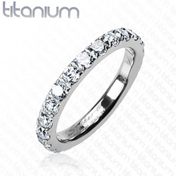 Cyrkonie srebrny pierścionek tytan