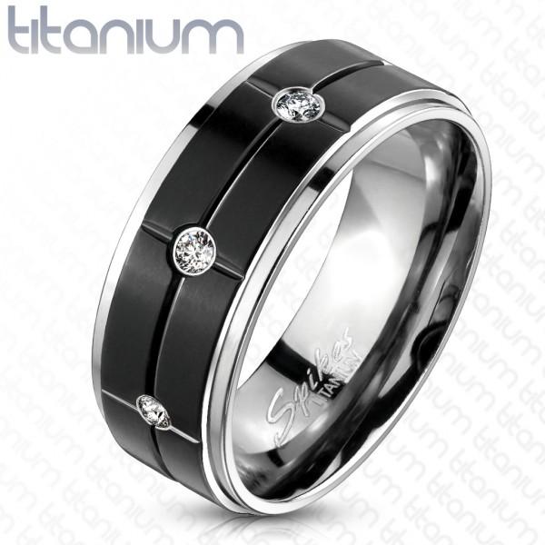 Rowki czarny pierścionek tytan