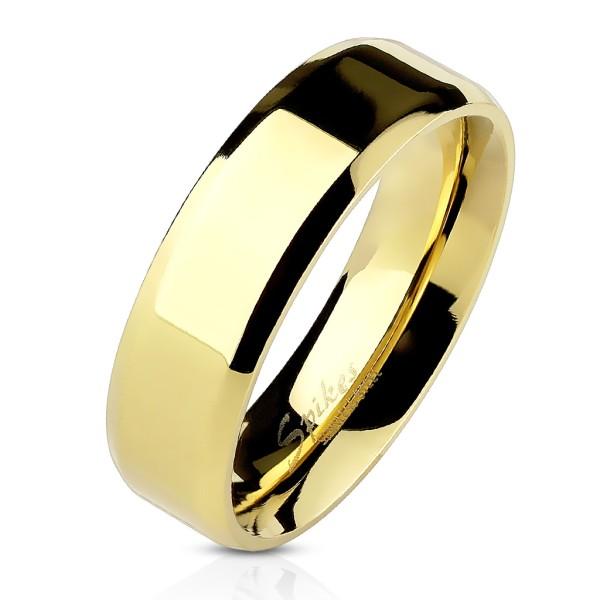 Ring Gold abgeschrägte Kanten Bandring Edelstahl