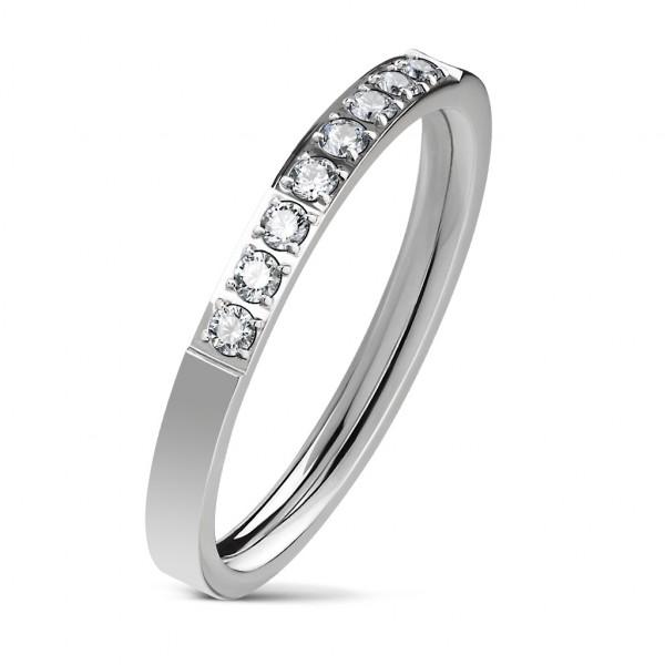 8 cyrkonii srebrny zaręczynowy pierścionek ze stali szlachetnej