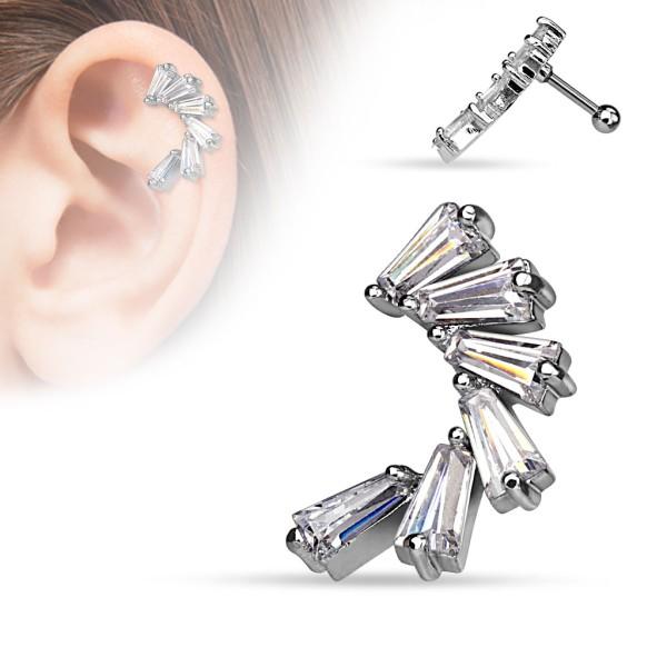 Półksiężyc kolczyk do chrząstki ucha tragus helix cartilage stal chirurgiczna 316L piercing