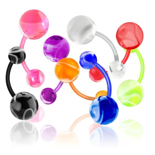 - pępek pierścionek z Marbel kulka 160pc opakowanie (20pcs x 8 colors)