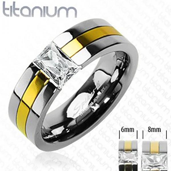 Pokryty złotem pierścionek tytan z cyrkonią