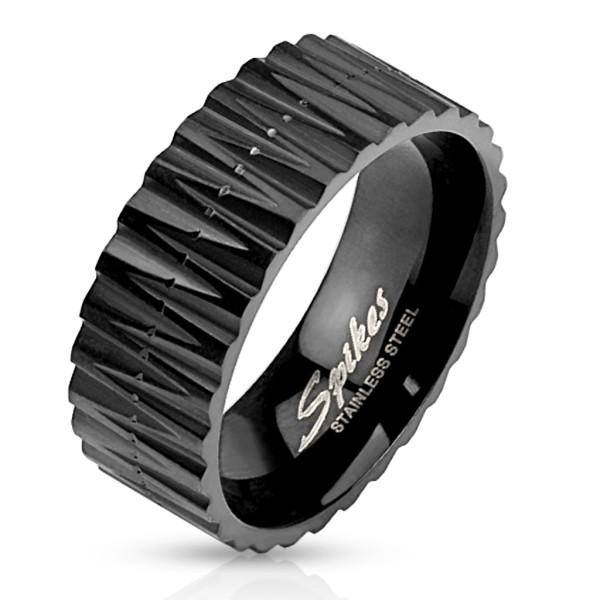 Zigzag czarny pierścionek ze stali szlachetnej